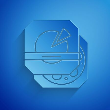 Paper cut Pizza in cardboard box icon isolated on blue background. Box with layout elements. Paper art style. Vector Illustration Ilustração