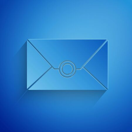 Paper cut Envelope icon isolated on blue background. Email message letter symbol. Paper art style. Vector Illustration Stock Illustratie