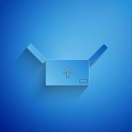 Paper cut Cardboard box with traffic symbol icon isolated on blue background. Box, package, parcel sign. Delivery, transportation and shipping. Paper art style. Vector Illustration Çizim