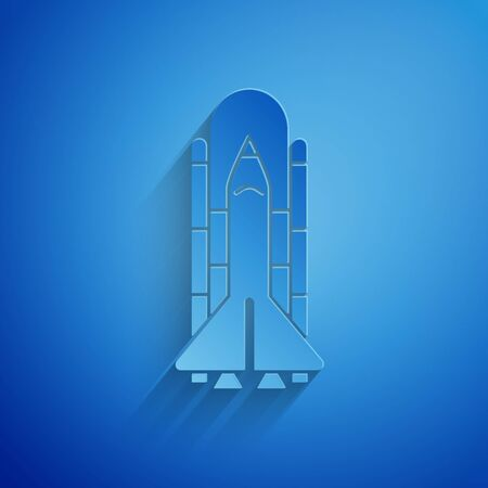 Paper cut Space shuttle and rockets icon isolated on blue background. Paper art style. Vector Illustration