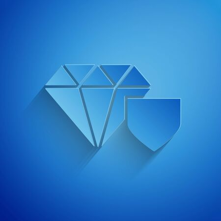 Paper cut Diamond with shield icon isolated on blue background. Jewelry insurance concept. Security, safety, protection, protect concept. Paper art style. Vector Illustration Ilustrace