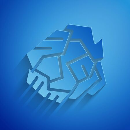 Paper cut Crumpled paper ball icon isolated on blue background. Paper art style. Vector Illustration Illustration