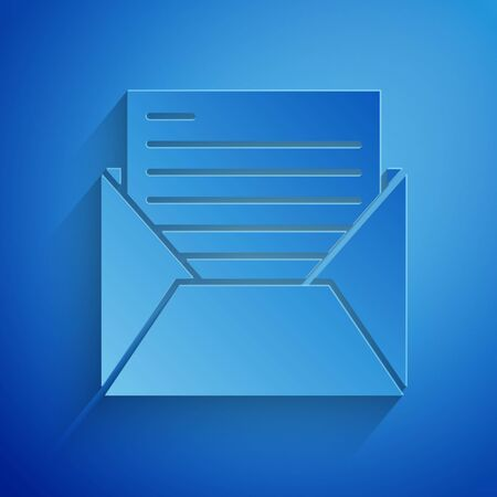 Paper cut Mail and e-mail icon isolated on blue background. Envelope symbol e-mail. Email message sign. Paper art style. Vector Illustration