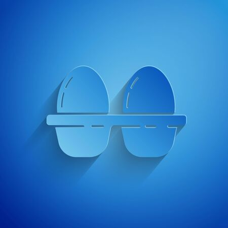 Paper cut Chicken egg in box icon isolated on blue background. Paper art style. Vector Illustration