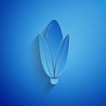 Paper cut Corn icon isolated on blue background. Paper art style. Vector Illustration Illustration