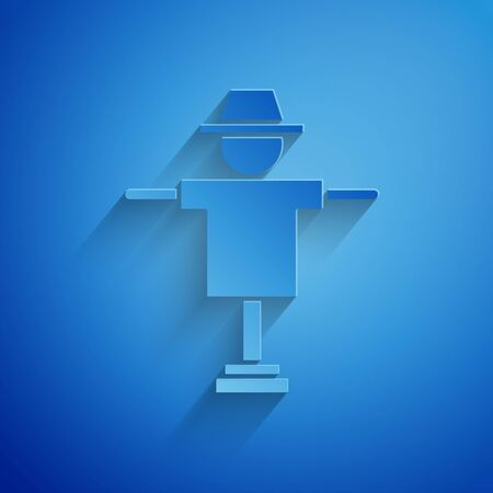 Paper cut Scarecrow icon isolated on blue background. Paper art style. Vector Illustration Stock Illustratie