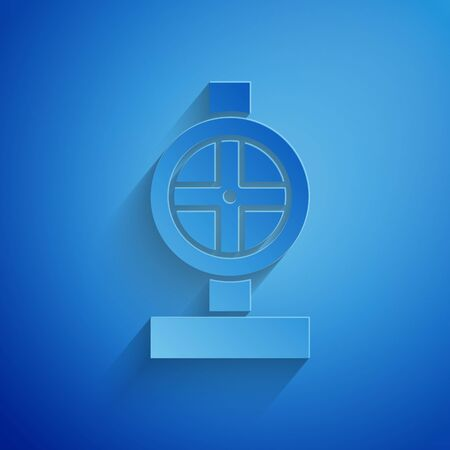 Paper cut Industry metallic pipes and valve icon isolated on blue background. Paper art style. Vector Illustration