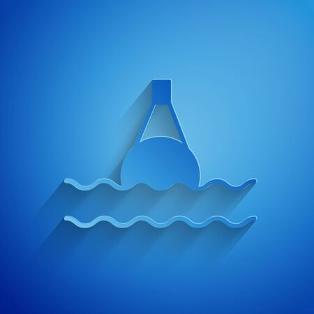 Paper cut Floating buoy on the sea icon isolated on blue background. Paper art style. Vector Illustration