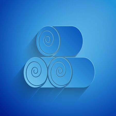 Paper cut Roll of hay icon isolated on blue background. Paper art style. Vector Illustration Illusztráció