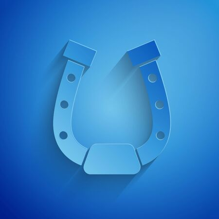Paper cut Horseshoe icon isolated on blue background. Paper art style. Vector Illustration Stock Illustratie