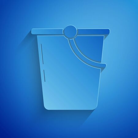 Paper cut Bucket icon isolated on blue background. Paper art style. Vector Illustration Ilustração