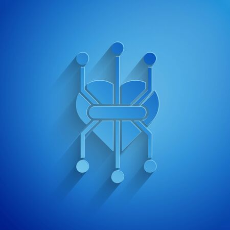 Paper cut Processor icon isolated on blue background. CPU, central processing unit, microchip, microcircuit, computer processor, chip. Paper art style. Vector Illustration  イラスト・ベクター素材