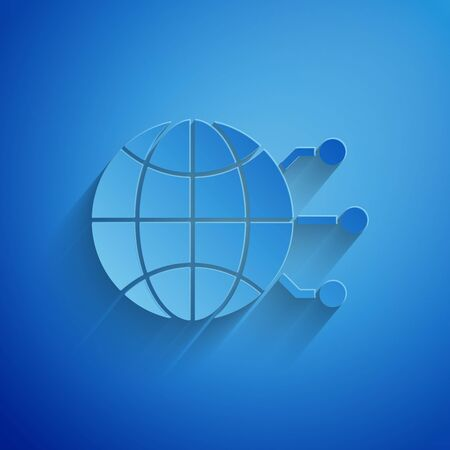 Paper cut Global technology or social network icon isolated on blue background. Paper art style. Vector Illustration 일러스트