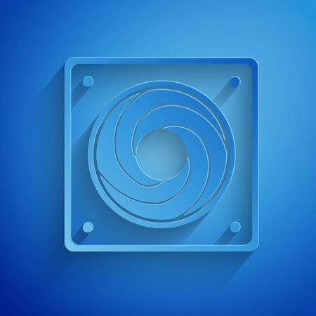 Paper cut Computer cooler icon isolated on blue background. PC hardware fan. Paper art style. Vector Illustration