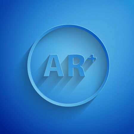 Paper cut Ar, augmented reality icon isolated on blue background. Paper art style. Vector Illustration