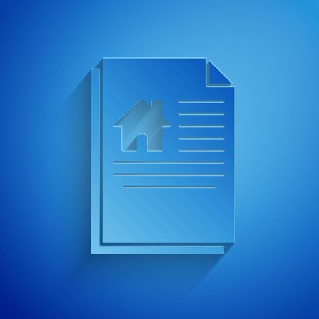 Paper cut House contract icon isolated on blue background. Contract creation service, document formation, application form composition. Paper art style. Vector Illustration