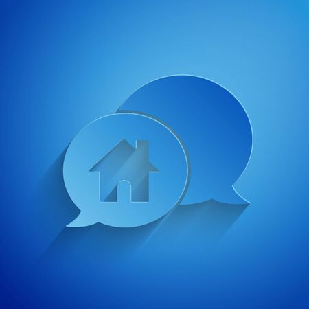 Paper cut House building in speech bubble icon isolated on blue background. Real estate concept. Paper art style. Vector Illustration