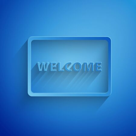 Paper cut Doormat with the text Welcome icon isolated on blue background. Welcome mat sign. Paper art style. Vector Illustration