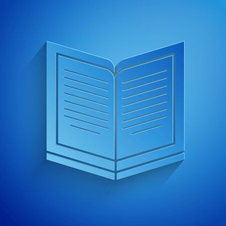 Paper cut Open book icon isolated on blue background. Paper art style. Vector Illustration