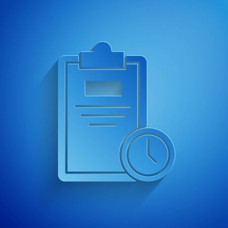 Paper cut Exam sheet with clock icon isolated on blue background. Test paper, exam, or survey concept. School test or exam. Paper art style. Vector Illustration Çizim