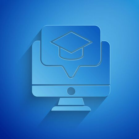 Paper cut Computer monitor with graduation cap icon isolated on blue background. Online learning or e-learning concept. Paper art style. Vector Illustration