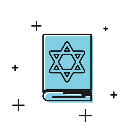 Black Jewish torah book icon isolated on white background. Pentateuch of Moses. On the cover of the Bible is the image of the Star of David. Vector Illustration Stock Illustratie