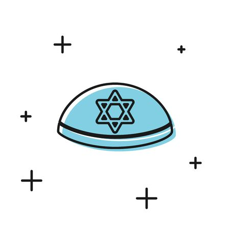 Black Jewish kippah with star of david icon isolated on white background. Jewish yarmulke hat. Vector Illustration