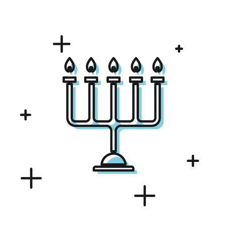 Black Hanukkah menorah icon isolated on white background. Hanukkah traditional symbol. Holiday religion, jewish festival of Lights. Vector Illustration Ilustracja