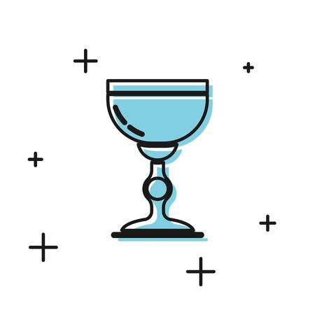 Black Jewish goblet icon isolated on white background. Jewish wine cup for kiddush. Kiddush cup for Shabbat. Vector Illustration