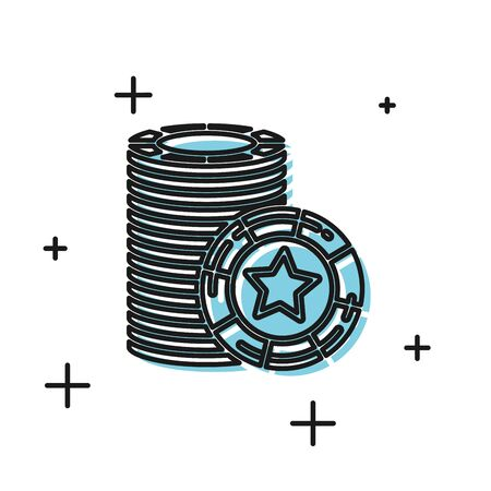 Black Casino chips icon isolated on white background. Casino gambling. Vector Illustration