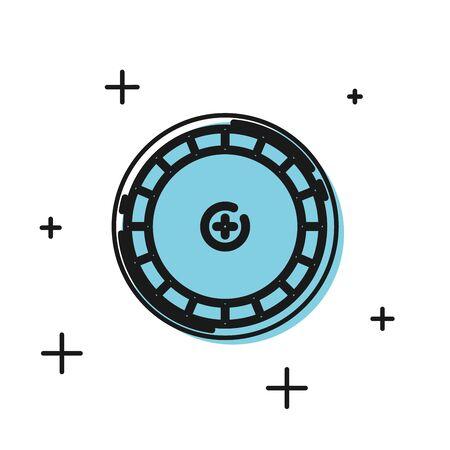 Black Casino roulette wheel icon isolated on white background. Vector Illustration