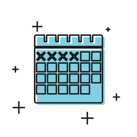 Black Calendar icon isolated on white background. Vector Illustration