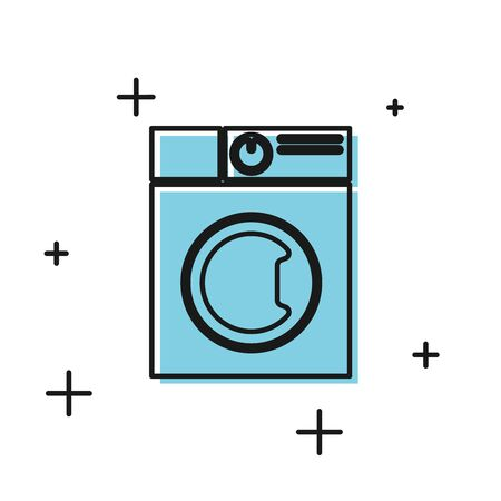 Black Washer icon isolated on white background. Washing machine icon. Clothes washer - laundry machine. Home appliance symbol. Vector Illustration
