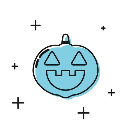 Black Pumpkin icon isolated on white background. Happy Halloween party. Vector Illustration