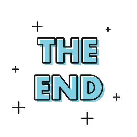 Black The End handwritten inscription icon isolated on white background. Closing movie frame. Movie ending screen. Vector Illustration