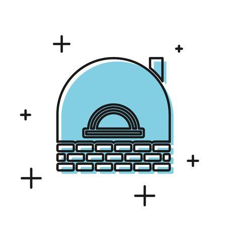 Black Brick stove icon isolated on white background. Brick fireplace, masonry stove, stone oven icon. Vector Illustration
