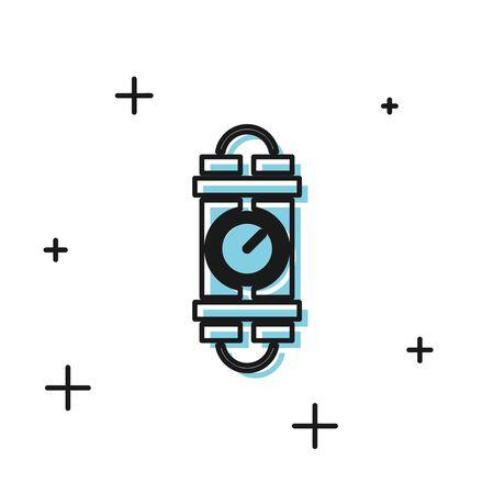 Black Detonate dynamite bomb stick and timer clock icon isolated on white background. Time bomb - explosion danger concept. Vector Illustration Illustration