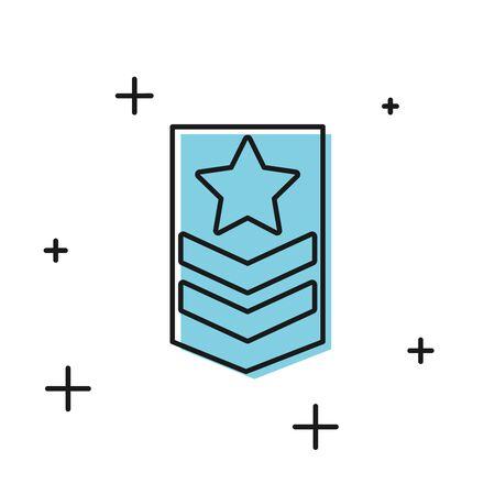 Black Chevron icon isolated on white background. Military badge sign. Vector Illustration 向量圖像