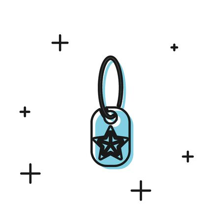 Black Military dog tag icon isolated on white background. Identity tag icon. Army sign. Vector Illustration
