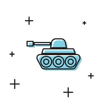 Black Military tank icon isolated on white background. Vector Illustration