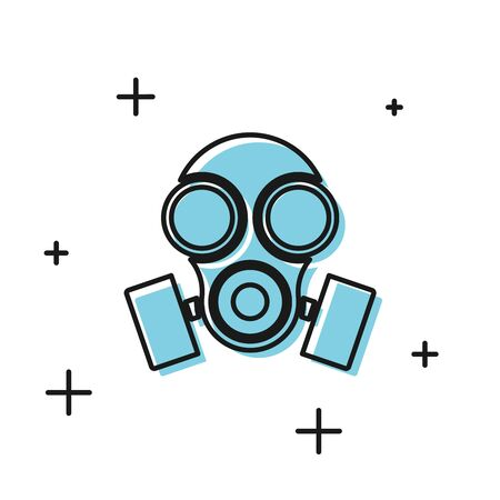 Black Gas mask icon isolated on white background. Respirator sign. Vector Illustration