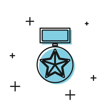 Black Military reward medal icon isolated on white background. Army sign. Vector Illustration