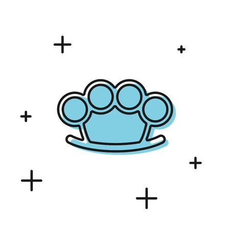 Black Brass knuckles icon isolated on white background. Vector Illustration 向量圖像