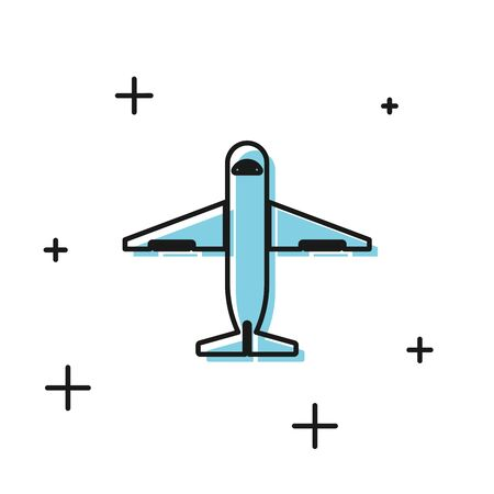 Black Plane icon isolated on white background. Delivery, transportation. Cargo delivery by air. Airplane with parcels, boxes. Vector Illustration Stock Illustratie