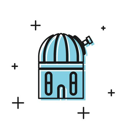 Black Astronomical observatory icon isolated on white background. Vector Illustration Vettoriali