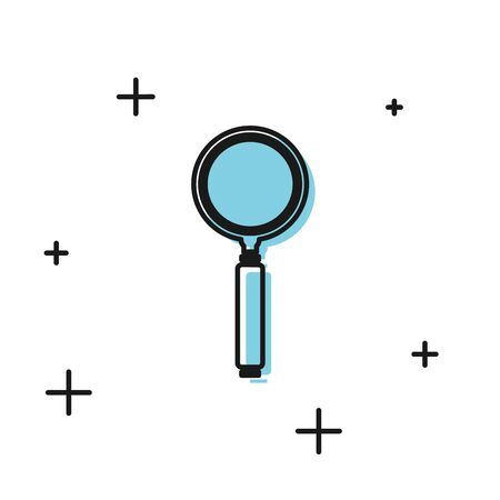 Black Magnifying glass icon isolated on white background. Search, focus, zoom, business symbol. Vector Illustration