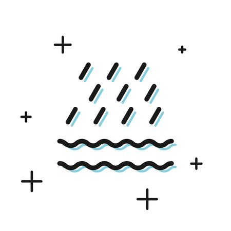 Black Rain and waves icon isolated on white background. Rain cloud precipitation with rain drops. Vector Illustration
