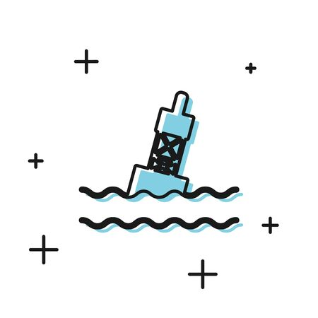 Black Floating buoy on the sea icon isolated on white background. Vector Illustration Иллюстрация