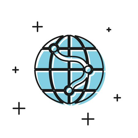 Black Location on the globe icon isolated on white background. World or Earth sign. Vector Illustration