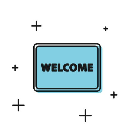 Black Doormat with the text Welcome icon isolated on white background. Welcome mat sign. Vector Illustration